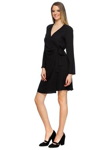 House Of Camellia Uzun Kollu V Yaka Elbise Siyah